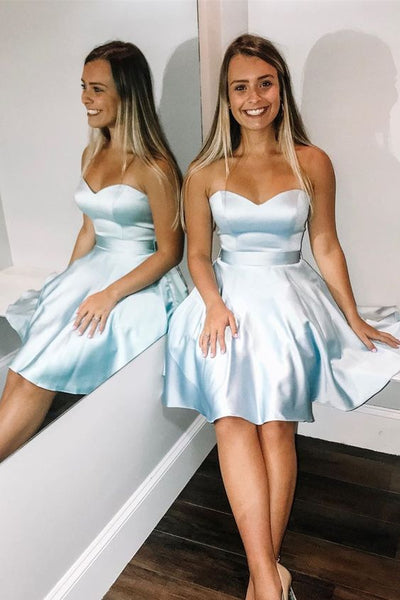 Sweetheart Short Light Sky Blue Homecoming Dress  S5942