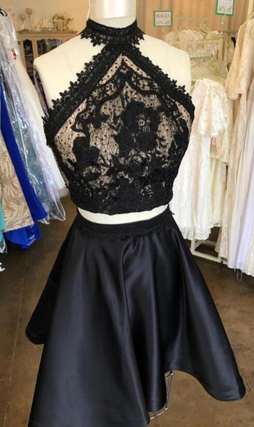 Two Piece Cut Outs Little Black Party Dress, Lace Homecoming Dress   S5944
