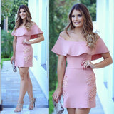 Pink Pencil  Off the Shoulder Lace Homecoming  Dress,Custom Made Evening Dress S5951