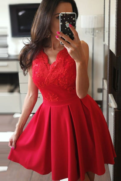 A-Line V-Neck Short Red Satin Homecoming Dress with Appliques  S595