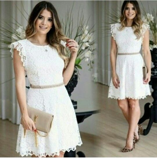 Charming White Cute Round Neck Homecoming Dress, Short Lace Homecoming Dress   S5964