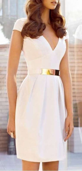 Classy V Neck  Short Sleeves Homecoming Dress , Slim Homecoming Dress   S5968