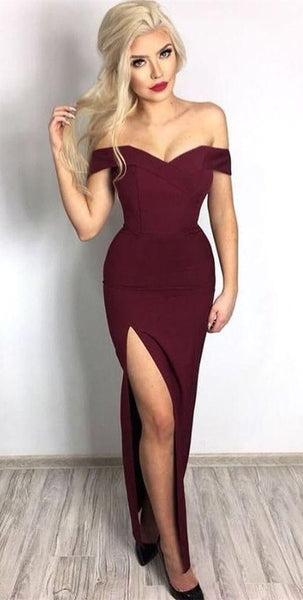 Off the Shoulder Maroon Formal Dresses Sexy Mermaid Prom Dress  S597