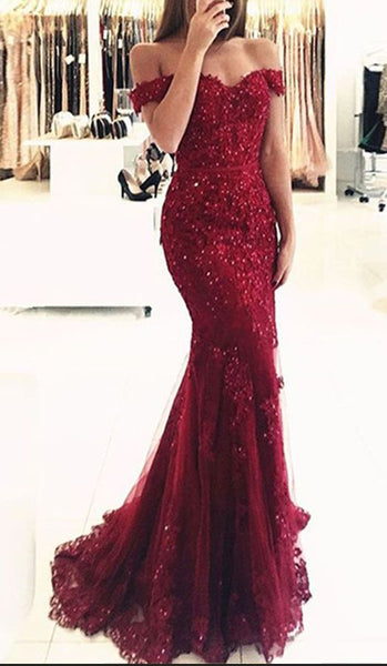 Mermaid Evening Dresses,Off-the-Shoulder Dark Red Tulle Beading Party Dresses,Appliques Prom Dresses,Long Prom Dresses  S5982