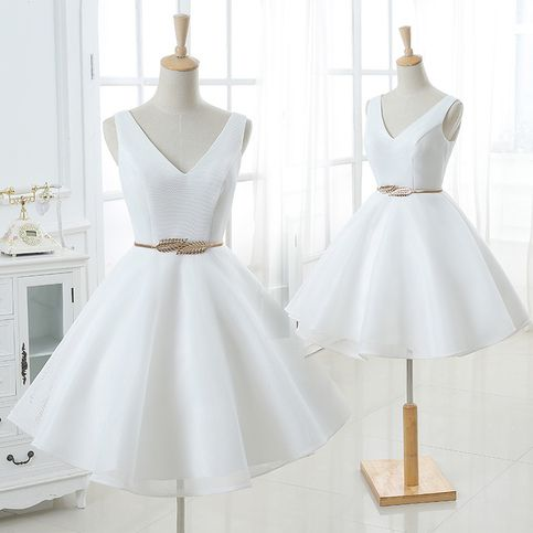 Cute white v neck short homecoming dresses S5997
