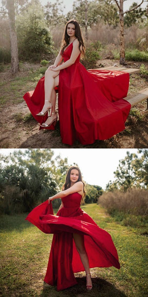 Sexy Red A Line Prom Dress, Spaghetti Straps Long Prom Dress, Evening Party Dress  S5998