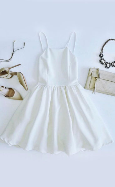 Chic Freely Ivory Backless Skater Dress , Short Homecoming Dress  S59