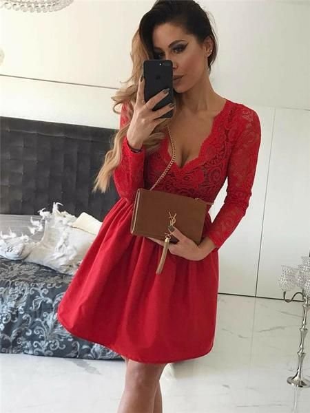 A-line V-neck Long Sleeves Lace Red Short Homecoming Dresses  S6009