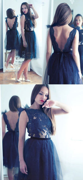 A-Line Bateau Backless Short Dark Blue Tulle Homecoming Dress with Appliques S600