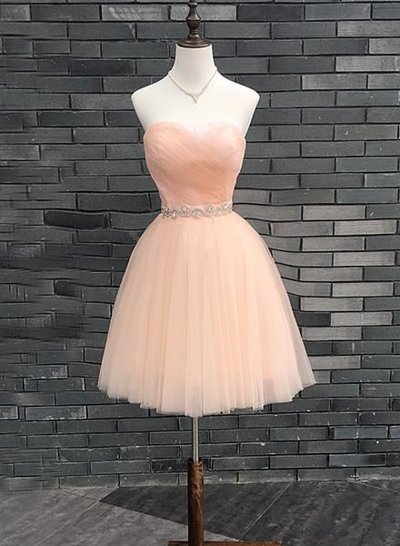 Lovely Handmade Pearl Pink Homecoming Dress  S6023