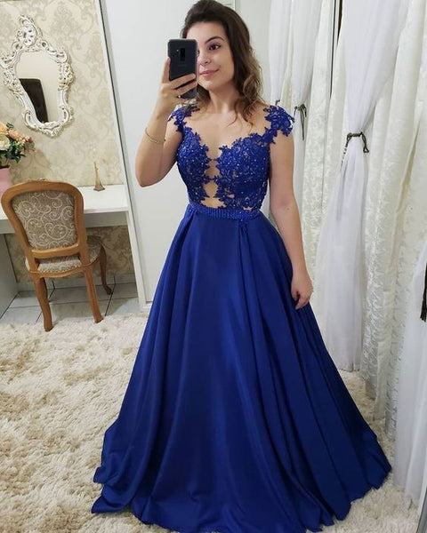 Royal Blue Long Prom Dresses with Appliques  S6030