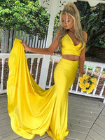 V Neck Yellow Satin Two Pieces Long Prom Dress, Yellow Mermaid 2 Pieces Formal Evening Dress  S6031