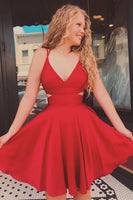Cute Straps V Neck Short Red Homecoming Dress   S6036