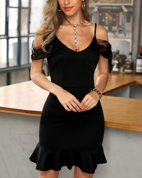 Cold Shoulder  Black Hem Bodycon Dress ,Short Homecoming Dress  S6039