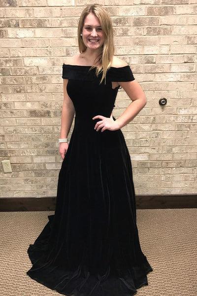 Black A Line Long Prom Dress , Sexy Black Formal Evening Party Dress  S6044