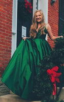 Simple Green  Prom Dress  V-neck Sleeveless Floor Length   S6047