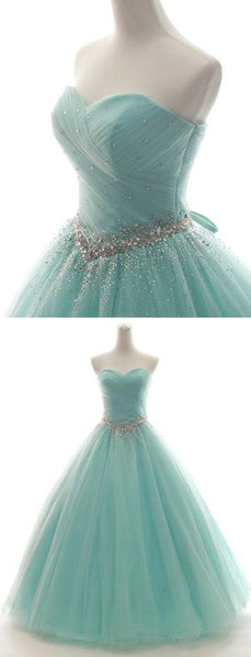 Sweetheart Neck Mint Tulle Sleeveless Floor-length Formal Prom Dress Prom Gown  S6052
