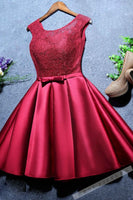 Red satin lace round neck short homecoming dress  S6059