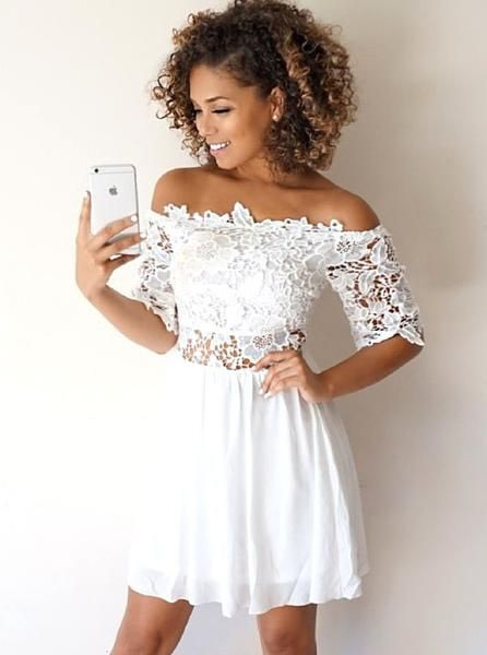 White Cocktail Dresses,Cocktail Dress with Sleeves,Chiffon Cocktail Dress  S605
