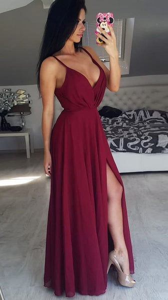 Charming Burgundy Spaghetti straps Chiffon Prom Dress,Formal Party Evening Dresses  S6063
