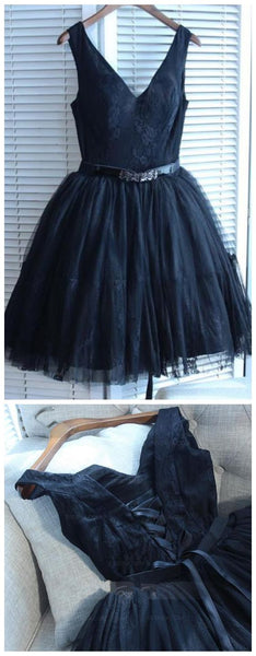 Navy Blue V Neck Sleeveless A Line Lace Short Homecoming Dresses  S606