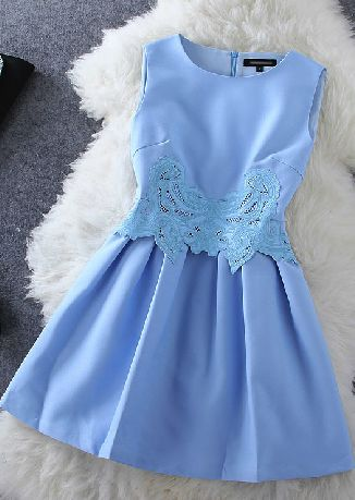 Embroidered Sleeveless  Blue  Short  Homecoming Dress   S6072