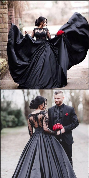 Black Long Sleeves Lace Elegant Modest Prom Dress, A-Line Ball Gown Prom  Dresses  S6073