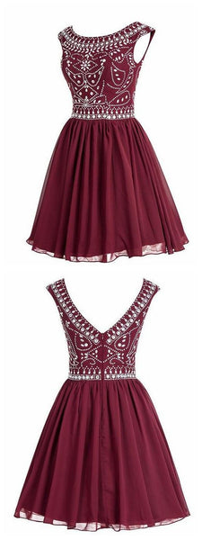 Short Chiffon Homecoming Dress With Beading  S6077
