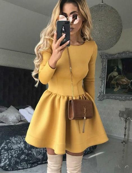 Round Neck Yellow Short Homecoming  Dresses   S607