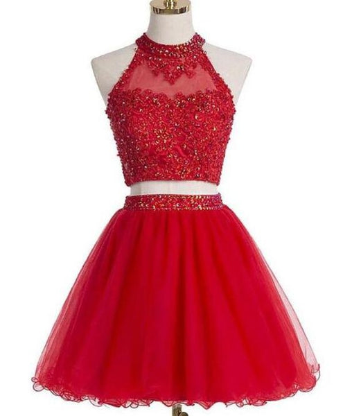 Two Pieces Tulle With Beading And Appliques Homecoming Dresses   S6083