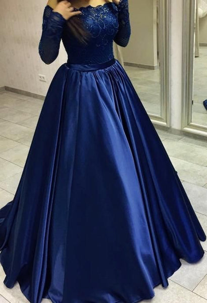 Off Shoulder Prom Dress With Long Sleeves 8th Graduation Dress Custom-made School Dance Dress  S6086