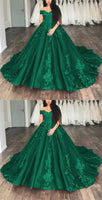 Off The Shoulder Tulle Ball Gowns Quinceanera Dresses Lace Appliques  , Long Prom Dress S6089