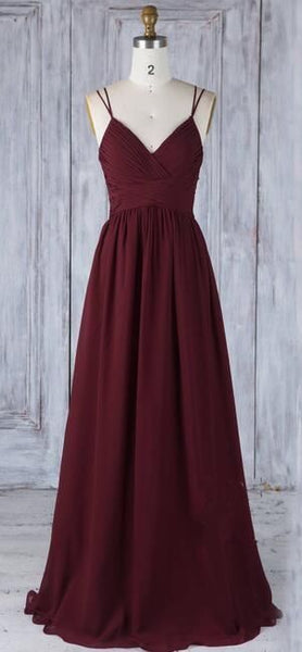 Simple Burgundy Long Prom Dress Custom-made School Dance Dress Fashion Party Dress  S6090
