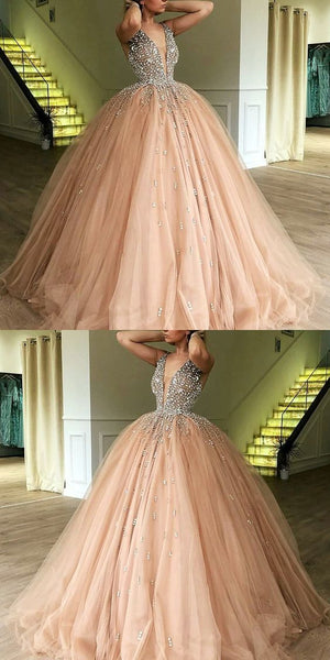 Ball Gown Deep V-Neck Sweep Train Champagne Tulle Prom Dress with Beading  S6092