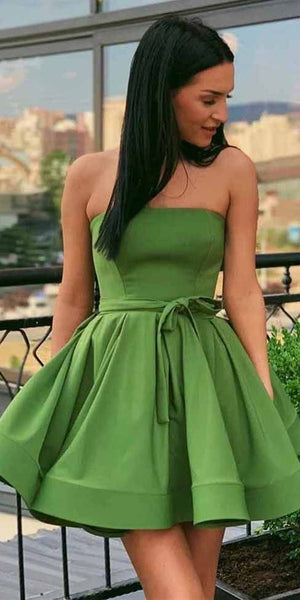 Green Strapless Homecoming Dresses Simple Short Homecoming  Dress  S6093