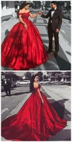 Ball Gown Off the Shoulder Court Train Red Satin Prom Dress with Lace   S6099