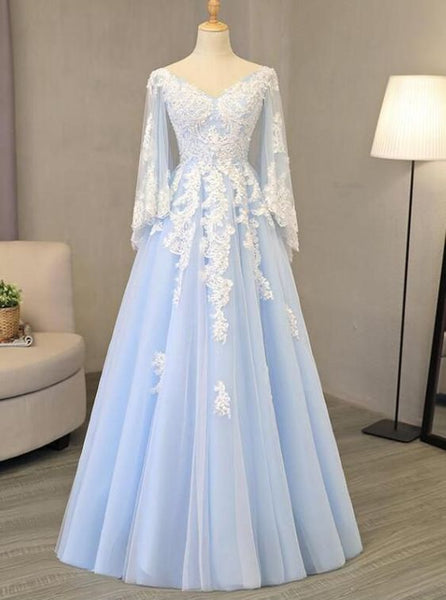 V Neck Light Blue Tulle Prom Dress Lace Appliques A-line Evening Gowns   S6107