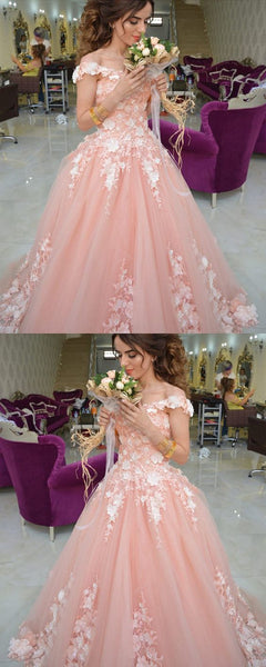 Coral Lace Embroidery Off Shoulder Tulle Quinceanera Dresses For Sweet 16 Prom Dress   S6110