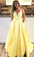 Simple A-line Yellow Long Prom Dress With Pockets  S6123
