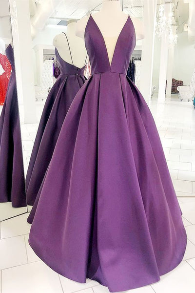 Simple Spaghetti Straps Backless Floor Length Prom Dress  S6125
