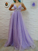 A-Line Spaghetti Straps Floor-Length Lavender Prom Dress With Sequins S6128