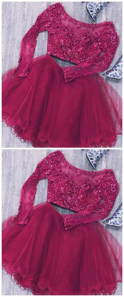 Two Piece Long Sleeves Tulle Short Homecoming Dress With Lace Beads, Short Prom Dress S612