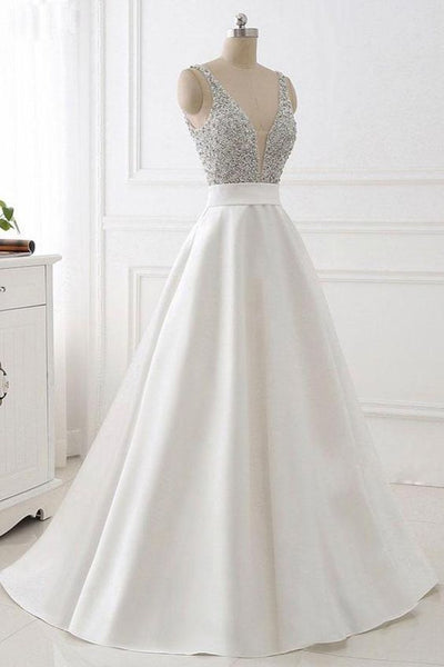 Stunning White A-Line Evening Dress V-Neck Satin Prom Dress with Beaded   S6143