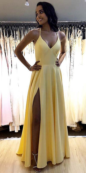 A-line satin simple prom dresses formal dress with split   S6152