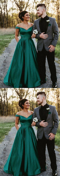 Off the shoulder hunter green long prom dress,  long  party dress   S6158