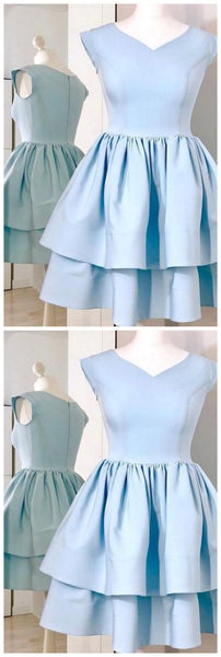 Light Blue Cap Sleeve Homecoming Dress, Two Layers V Neck Short Party Dress S615