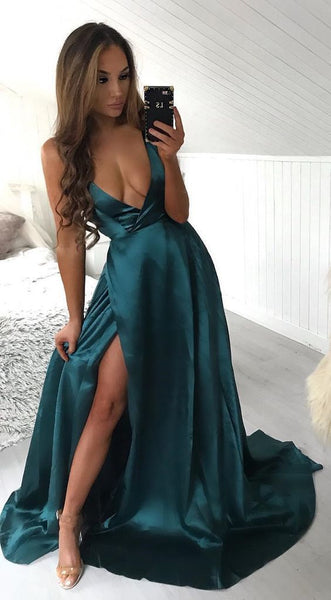Sexy deep v neck prom dresses evening dresses, simple teal prom dresses with side slit, long prom dresses  S6160