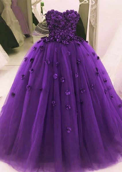 Lovely Flower Sweetheart Tulle Ball Gowns Quinceanera Dresses , Long Prom Dress  S6161