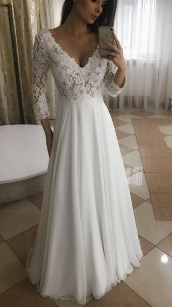 Elegant A Line V Neck Long Sleeves White Lace Long Prom Dresses S6177