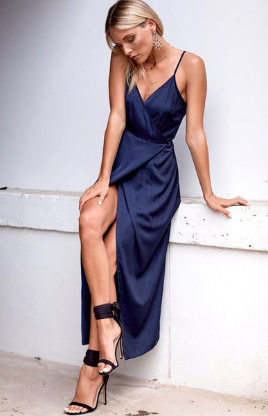Sexy Dark Navy Prom Dress, Long Prom Dress, Sheath Long Prom Dress,V-neck Long Prom Dress S6182
